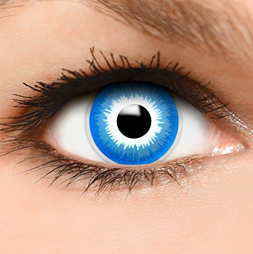 Farbige Kontaktlinsen Elf in blau + Behälter - Top Linsenfinder Markenqualität, 1Paar (2 Stück)