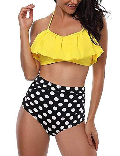 Voqeen Traje de baño para Mujer Top de Bikini de Volante Parte Inferior de Cintura Alta Halter Vintage Push Up de 2 Piezas