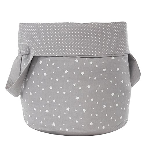 Belino Stars - Juguetero redondo de tela, 30 x 30 x 40 cm, color gris