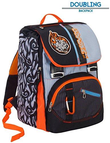 Zaino scuola seven - tribal boy - nero arancione - estensibile - 28 lt - elementari e medie - inserti rifrangenti