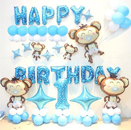 HorBous 1 Jahr alt Baby Kinder Geburtstag Ballon Dekoration 1. Party Ballon Dekor Set Pink/Blau (Blau)