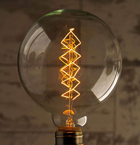 Globe Large 3-Pack 40W Warm Rustic Dimmable Light Bulb Spiral Filament, Vintage Incandescent Edison E27 Electric Light, Create The Perfect Atmosphere For Bar Restaurant Coffee Shop And Home Use