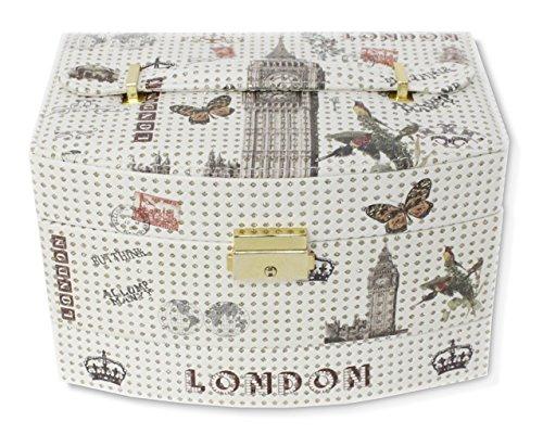 Haus und Deko Schmuckkästchen abschließbar Kunstleder Schmuckkoffer 3 Ebenen Schmuckschatulle mit Griff - Design London Big Ben -