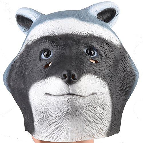 Waschbär vollkopf latexmaske neue niedliche gummi tiermaske dress für halloween kostüm weihnachtsfeier (Waschbär Maske)