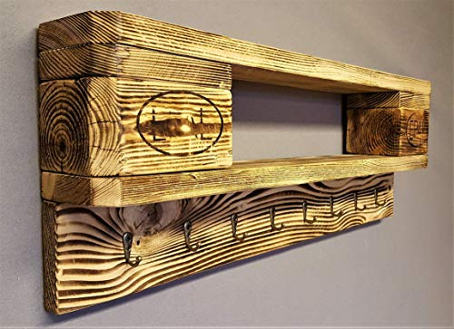 Schlüsselbrett mit Ablage Holz vintage aus Europalette mit 8 Schlüsselhaken incl. Aufhängung Schlüsselboard Garderobe Wandregal Ablage vintage Wandboard Palettenmöbel Palettenregal