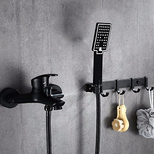 ETERNAL QUALITY Badezimmer Waschbecken Wasserhahn Messing Hahn Waschraum Mischer Mischbatterie Tippen Sie auf Schwarz Dusche Badewanne booster volle Messinghähne dusche Kit aus der Stanze verfügbar B Küchenspüle Armaturen
