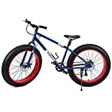 "Ridgeyard Fat Bike 26"" 7 velocità Cruiser Bicycle Mountainbike Spiaggia Passaggio Viaggiare Sport (Blu Marina)"