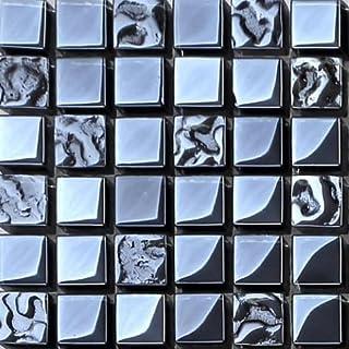 Black Iridescent Glass Mosaic Tiles Sheets (MT0098) (Sample)