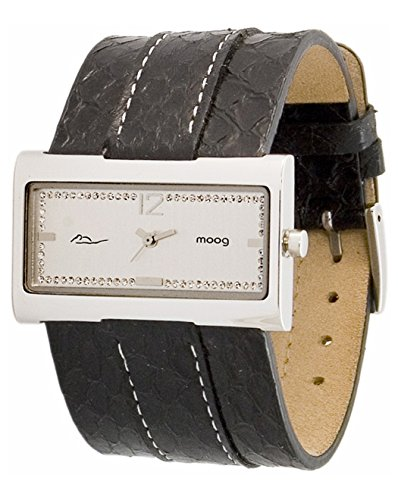 Moog Paris Miroir Women's Watch with Silver Dial, Black Genuine Snake Skin Strap & Swarovski Elements - M41491-001