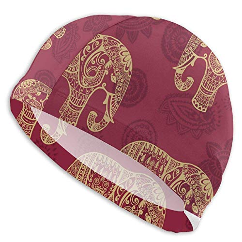 Gebrb Indian Mandala Golden Elephant Lycra Gorro de Natacion Comfortable Fit Gorro de Baño Bathing and Shower Hair Cover Ear Protection for Long Hair & Thick Hair & Curly Hair, Easy to Put On and Off