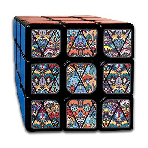 Custom 3x3 Speed Cubes 3x3 Los mejores juguetes para entrenar el cerebro 3x3x3 Boho Seamless Pattern de Flower Mandala Rhombus Speed Cube Juego de fiesta para niños, niñas y niños pequeños-55 mm