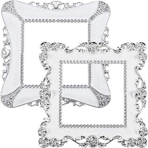 2 Stück Kunststoff Quadrat Lichtschalter Aufkleber, Kunstvolle Weiße Harz Abdeckung Dekoration Aufkleber -