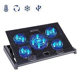 Laptop Kühler Laptop Lüfter, slopehill Laptop Cooling Pad Laptop Kühlpad für 10-17 Zoll oder grössere Notebook/Laptop, 5 Lüfter Belüfteter Notebookständer Kühlmatte, 2 USB Ports, Schneller Kühlvorgang