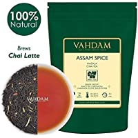 VAHDAM, Assam Spiced Masala Chai Tea | 100 gramos (50 tazas) | ESPECIAS 100% NATURALES | Té Assam, Cardamomo, Canela, Clavo, Pimienta Negra | Hojas de té chai con especias de la India