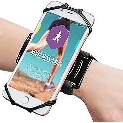 Bovon Brassard Sport au Poignet, [Installation Facile] 180° Rotatif Étui Brassard Téléphone avec Sangle Réglable pour Jogging Gym (Noir)