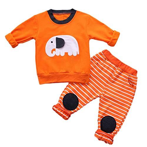 XXYsm 2PCS Baby Jungen Mädchen Outfit KarikaturElefant drucken Tops + Streifen Hosen Sets Langarm Herbst Winter Oberteile Orange ❤80/6-12 Monate