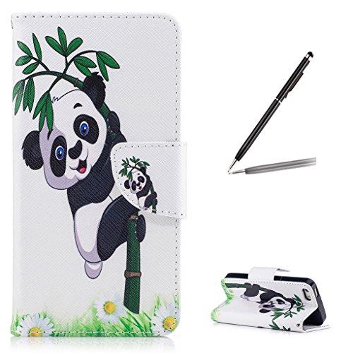 Trumpshop Smartphone Case Coque Housse Etui de Protection pour Apple iPhone 5/5s/SE + Fleur de Prunier + Mode Portefeuille PU Cuir Avec Fonction Support Anti-Chocs Gangfu Panda