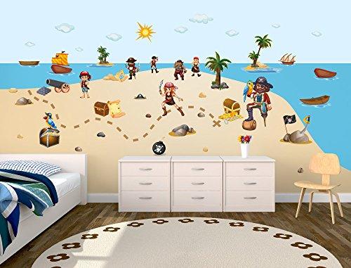 prix d'usine beaucoup de styles vente usa en ligne Sticker mural chambre d'enfant Motif Pirates Vinyle XXL