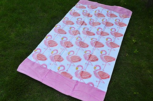 MangeooReine Baumwolle Schwimmbad Handtuch, erwachsene Verdickung, Cartoon männlichen lady Strandtuch, PINK SWAN, 160 x 80 cm Pink Swan