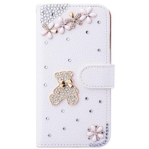 iPhone 7 Hülle, Yokata Luxury Flip PU Leder Case mit DIY Perle Schutzhülle Bling Glitzer 6D Cover Standfunktion und Kreditkarte Tasche Wallet Schutzhülle Bär
