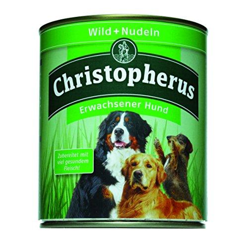 Christopherus Alleinfutter für Hunde, Nassfutter, Erwachsener Hund, Wild/ Nudeln, Fleischmahlzeit 800 g