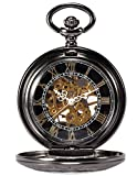 AMPM24 Steampunk Skeleton Mechanical Copper Fob Retro Pendant Pocket Watch + AMPM24 Gift Box WPK164 Bild 1