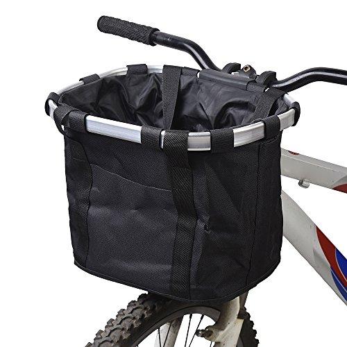 Docooler, cestino da bici per animale domestico, staccabile, in tela, borsa per trasporto animali da compagnia con telaio in lega di alluminio, trasportino per cani black