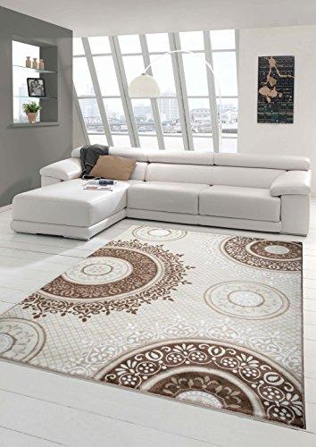 Designer Teppich Moderner Teppich Wohnzimmer Teppich Klassisch gemustert Kreis Ornamente in Braun Taupe Beige Creme Meliert