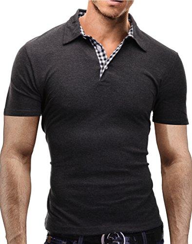MERISH Herren Poloshirt Karierte Kontraste Slim Fit Modell 1023 Anthrazit-SchwarzWeiss