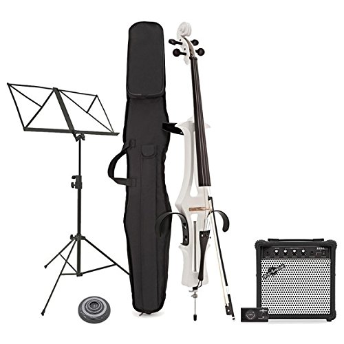 Violoncello Elettrico di Gear4music Bianco con Pacchetto Amplificatore
