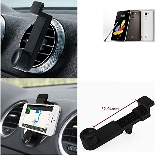 Lüftungs Halterung für LG Electronics Stylus 2 DAB+. KFZ-Halterung Smartphonehalterung Lüftungsgitter Lüftungs Schlitze, Schwarz - K-S-Trade(TM)