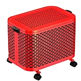 LUCKYHUNTER Ventola Radiatore, Riscaldatore Portatile Ceramico PTC in Acciaio Doppio Carbonio 2000W / 220V con 4 Ruote Universali per La Protezione Contro Il Surriscaldamento,Red