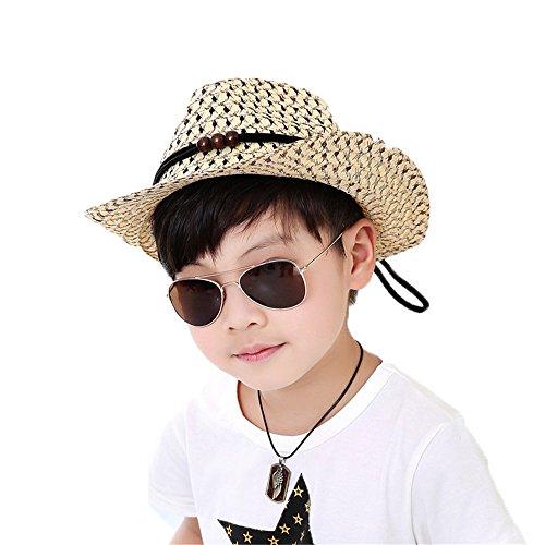Jungen Baby Mode Sommer Strand Aushöhlen Dekoration Breiter Krempe Stroh Sonnen Hut Cowboy-Hut Kinder Hut, Beige (Cowboy-hut Herren-stroh-hüte)
