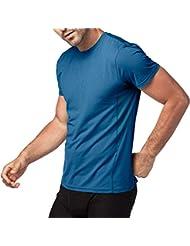 LAPASA Camiseta Deportiva para Hombre con Microperforación en los Costados (Ideal para Running, Gimnasio)