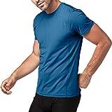Maglietta Cupro da allenamento Uomo Palestra a Maniche Corte (S, Blu)