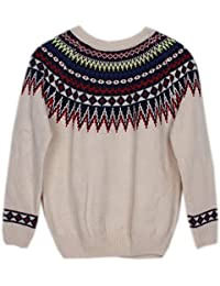 EOZY Femme Chandail Sweat-Shirt Pull Style Indien Motif Couture Multicolore