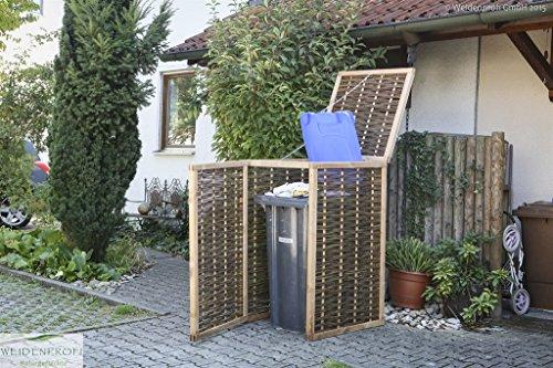 Mülltonnenverkleidung WEIDENPROFI aus Holz mit Weidengeflecht für eine Mülltonne bis 240 Liter - 5