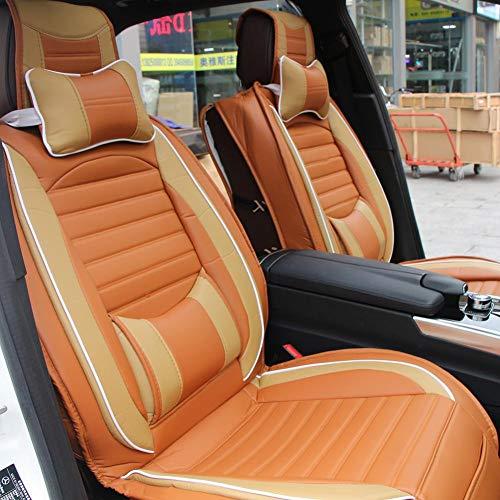 Coprisedili in pelle PU,Coprisedili in Pelle Universale per Auto Anteriore + Posteriore + Cuscini per 5 Posti Auto(marrone beige)