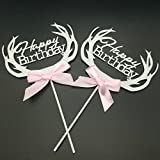 "Paity 4pcs Cupcakes Toppers Silver Happy Birthday Cake Decoration ""Happy Birthday""Letter Cupcake Topper Picks..."