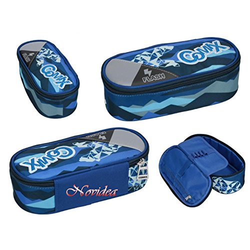 Astuccio ovale comix flash organizzato portapenne blu 22x10x7 cm