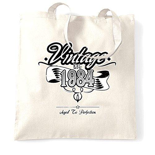 Compleanno Sacchetto Di Tote Vintage Est 1984 Anno di nascita Vecchio tradizionale unico White