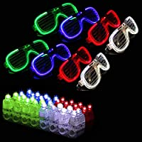 Syolee Toy 28 Pcs LED Light Up Toys Party Bag Fillers with 20 LED Finger Lights 8 Flashing LED Glasses Lights Great for Holiday LED Light Toys Party Favor Supplies