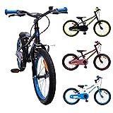 AMIGO - Cross - Bicicletta Bambini - 18'' (per 5-8 Anni) - Nero/Blu