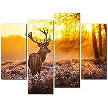 Impresión de lienzo de pared con imagen ciervos en bosque otoñal, puesta de sol, animales, vida fauna, 4piezas, cuadros modernos estirados y enmarcados, impresiones fotográficas Giclée sobre lienzo
