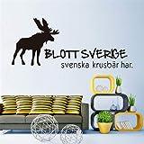 Zxfcczxf Rentier Wandtattoo Nur Schweden Hat Schwedische Stachelbeere Wandaufkleber Vinyl Abnehmbare Aufkleber Für Wohnzimmer Home Decor