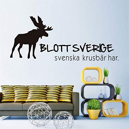 (Zxfcczxf Rentier Wandtattoo Nur Schweden Hat Schwedische Stachelbeere Wandaufkleber Vinyl Abnehmbare Aufkleber Für Wohnzimmer Home Decor)