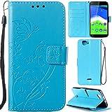 Ooboom® Wiko Rainbow 4G Hülle Prägen Schmetterling Blume Flip PU Leder Tasche Case Cover Brieftasche Magnetverschluss für Wiko Rainbow 4G - Himmelblau