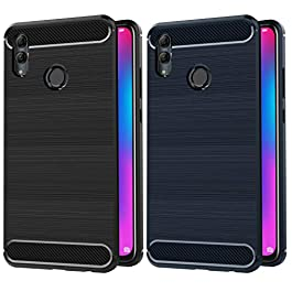 VGUARD Compatible with Case Huawei Honor 10 Lite/Huawei P Smart 2019, [2 Pack] Silicone Resilient Shock Absorption and Carbon Fiber Design Bumper Protective Cover (Black+Blue)