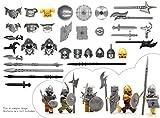 MAGMABRICK Magma Brick: Mittelalter Serie. Kreuzfahrer-Ritter-Rüstung, Wikinger-Rüstung, Orc-Rüstung, Brute-Rüstung mit Helm und Waffe für Lego Minifigur