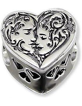 Für Partnerlooks, wendbar, mit Swarovski-Kristall Herz-Charm-Anhänger Herz Romantik Sterling Silber Bead Charm-Pandora-Stil